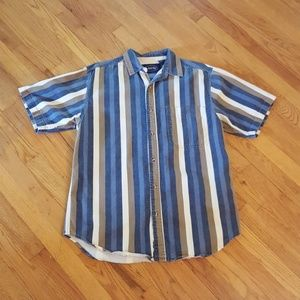 Vintage Button Down Shirt Blue Tan White